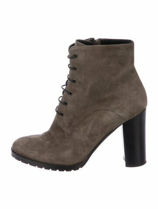 Barneys New York Suede Lace-Up Boots Grey