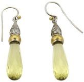Gurhan 24K Gold Sterling Silver Lemon Citrine & Diamonds Dangle Earrings