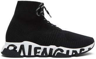 Balenciaga Black and White Speed Lace-Up Sneakers