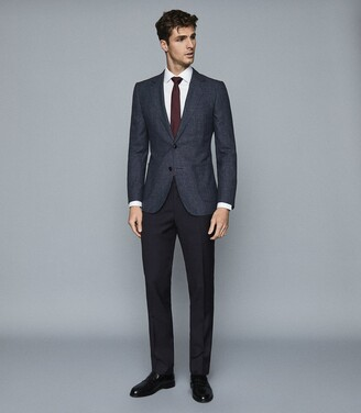 Reiss Edition - Wool Blend Textured Blazer in Navy