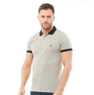 French Connection Mens Contrast Collar Polo Light Grey Melange/Marine