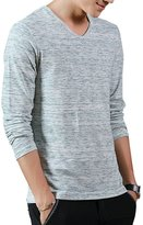 LETSQK Men's Casual Slim Fit V-neck Fleece Pullover Sweater Top M