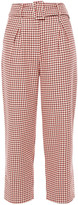 Thumbnail for your product : Paper London Tulip Cropped Houndstooth Cotton-jacquard Tapered Pants