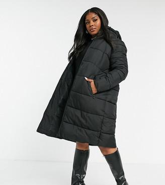 Junarose longline padded coat in black