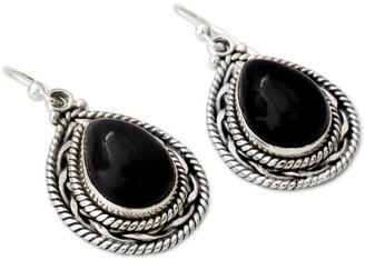 Novica Handmade Palace Memories Modern Black Onyx Pear Gemstones Set in Rope Bezel of 925 Sterling Silver Dangle Earrings