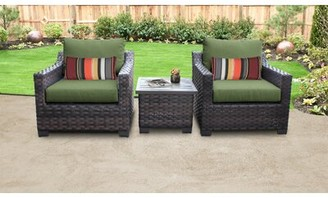 kathy ireland Homes & Gardens by TK Classics River Brook 3 Piece Outdoor Rattan Seating Group with Cushions Cushion Color: Forest
