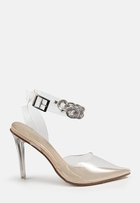 Missguided Nude Diamante Link Heeled Sandals