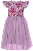 Orchid Lane Girls' Special Occasion Dresses - Pink & Lilac Floral Ruffle-Accent A-Line Dress - Toddler & Girls