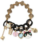 Betsey Johnson Black White Cat Beaded Charm Bracelet