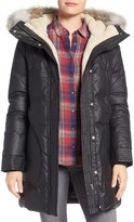 Soia & Kyo Down Parka with Faux Shearling and Genuine Coyote Fur Trim