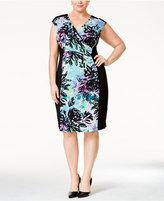 Connected Plus Size Floral-Print Surplice Sheath Dress