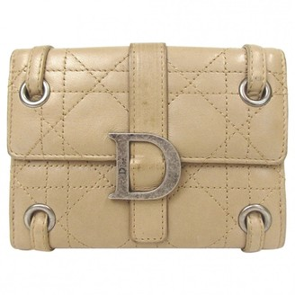 Christian Dior Beige Leather Wallets