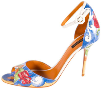 Dolce & Gabbana Multicolor Keira Majolica Printed Ankle Strap Sandals Size 39