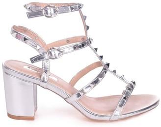 Linzi Tessa Silver Studded Block Heeled Sandals