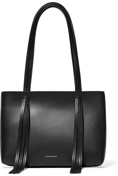 Mansur Gavriel East West Mini Fringed Leather Tote - Black