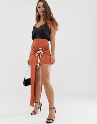 ASOS DESIGN slinky twist front maxi skirt with rope tie
