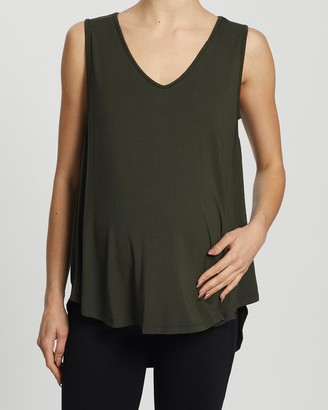 Angel Maternity Women's Green Maternity Singlets - Maternity & Nursing Tank Top - Size One Size, S at The Iconic