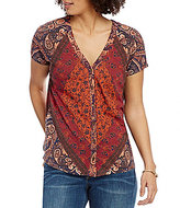 Lucky Brand V-Neck Button Front Printed Knit Tee