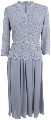 Alex Evenings Women's Faux-wrap Mock Lace Dress with Tea Length Skirt