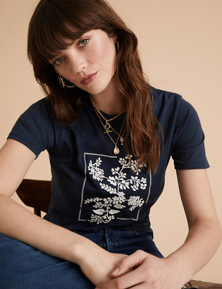Marks and Spencer Cotton Floral Embroidered Crew Neck T-Shirt