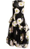 Simone Rocha Peony-embroidered ruffled tulle dress