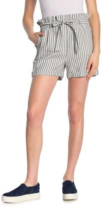 Frame Stripe Linen Blend Waist Tie Shorts
