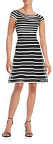 Betsy & Adam Striped Fit-and-Flare Dress