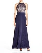 Aqua Lace Pleated Gown