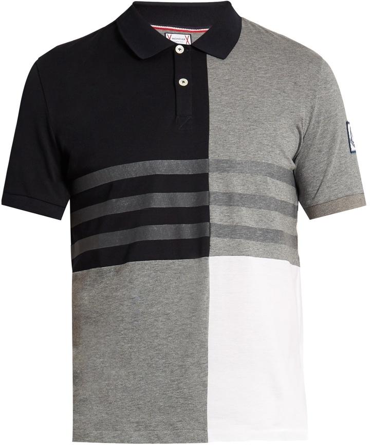 Moncler Gamme Bleu Contrast-panel cotton polo shirt