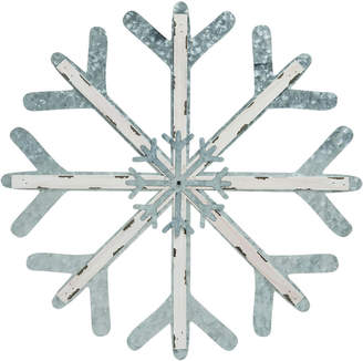 FLAKE Transpac Metal Silver Christmas Snow Wall Decor