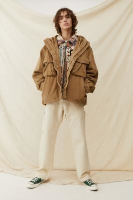 Urban Outfitters Stone Corduroy Parka Jacket - White S at