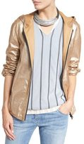 Brunello Cucinelli Hooded Metallic Leather Jacket, Gold