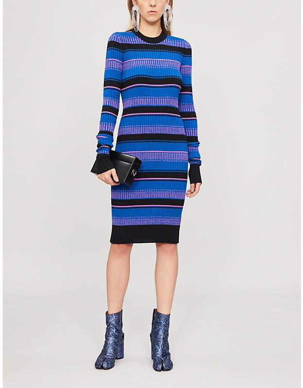 Maison Margiela Striped ribbed wool-blend dress