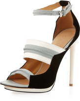 Jane Ankle-Strap Pump, Gray/White/Black