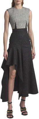Alexander McQueen Darted Two-Tone Wool High-Low Dress