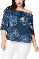 Rachel Roy Plus Size Women's Off The Shoulder Print Top