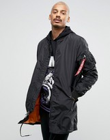Alpha Industries Ma1-tt Longline Bomber Jacket Slim Fit In Black