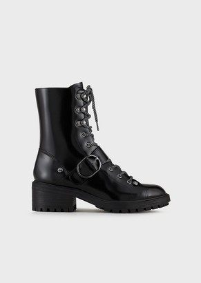Emporio Armani Brushed Leather Combat Boots