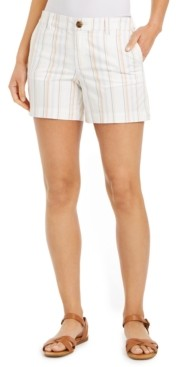 Style&Co. Style & Co Striped Slit-Hem Shorts, Created for Macy's