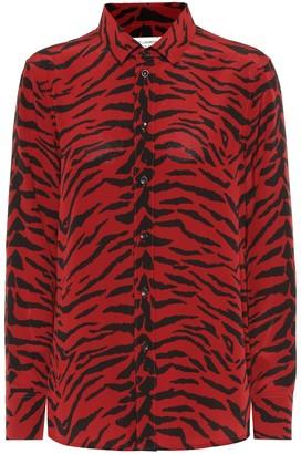 Saint Laurent Printed silk crepe de chine blouse