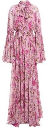 Giambattista Valli Pussy-bow Gathered Floral-print Silk-chiffon Gown