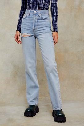 Topshop Womens Bleach Kort Thigh Ripped Jeans - Bleach Stone