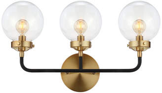 "Jonathan Y Designs Caleb 3-Light 22"" Brass Wall Sconce, Black and Brass"