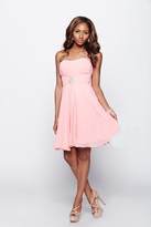 Milano Formals - Strapless Sweetheart Pleated Bodice Short Dress E1264