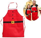Aimeio 2 Pack Christmas Kitchen Basic Cooking Baking Crafting Apron Washable Hostess Christmas Gift Christmas Decorations Commodity Santa Claus Apron (Red A)