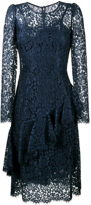 Dolce & Gabbana Lace Ruffle Midi Dress
