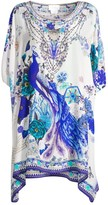 Camilla White Side of The Moon Embellished Silk Short Caftan