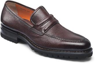 Santoni Men's Nia Pebbled Leather Penny Loafers