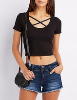 Charlotte Russe Ribbed Strappy Crop Top