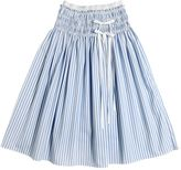 Simonetta Striped Cotton Poplin Skirt With Bows